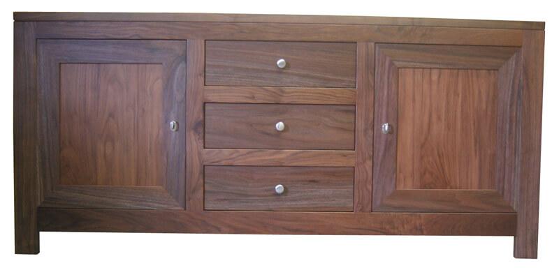 buffet 3 portes ch ne noyer naturel bois 100 massif. Black Bedroom Furniture Sets. Home Design Ideas