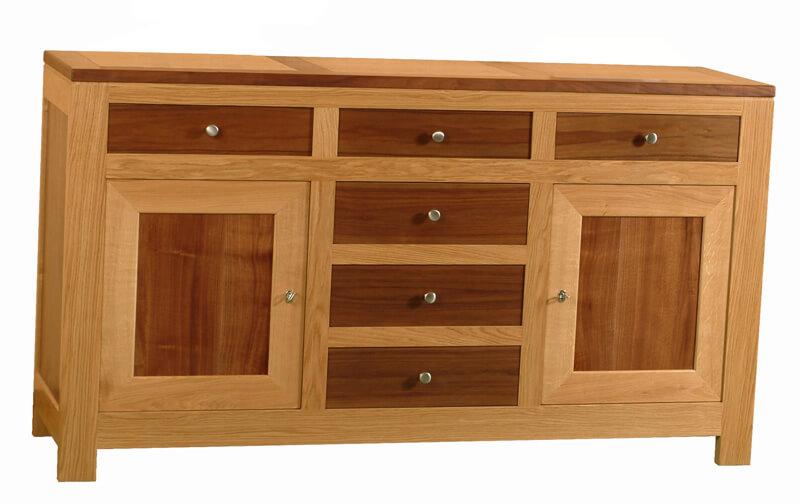 buffet 2 portes 6 tiroirs ch ne noyer naturel bois 100. Black Bedroom Furniture Sets. Home Design Ideas