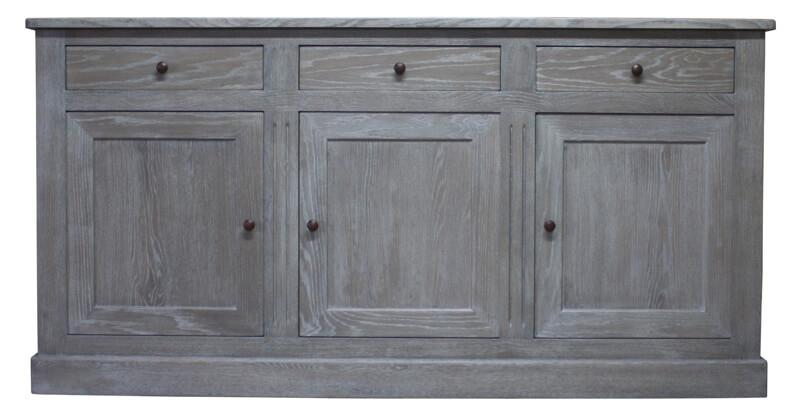 Buffet 3 portes 3 tiroirs ch ne d fibr gris patin ivoire bois 100 massif - Buffet 3 portes 3 tiroirs ...
