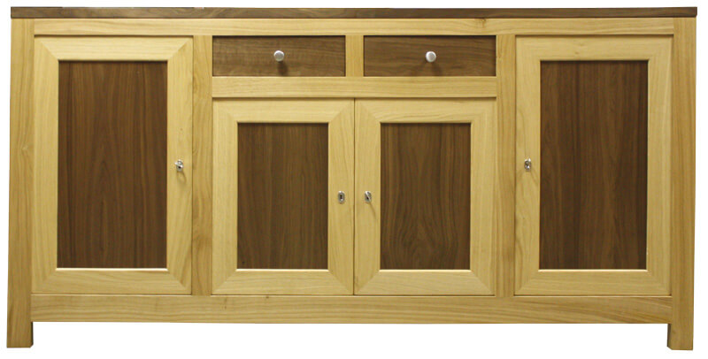 buffet 4 portes 1 tiroir ch ne noyer naturel bois 100. Black Bedroom Furniture Sets. Home Design Ideas
