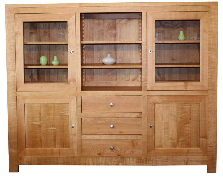 Bahutin 4 portes 3 tiroirs 1 niche merisier naturel - Enfilade merisier 4 portes ...