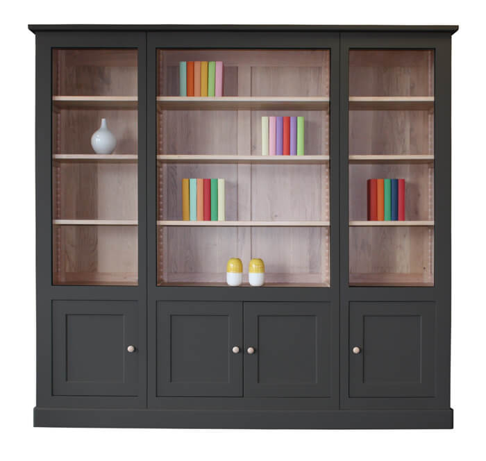 biblioth que 4 portes haut ouvert tag res ch ne blanchi ch ne laqu gris charleston bois. Black Bedroom Furniture Sets. Home Design Ideas