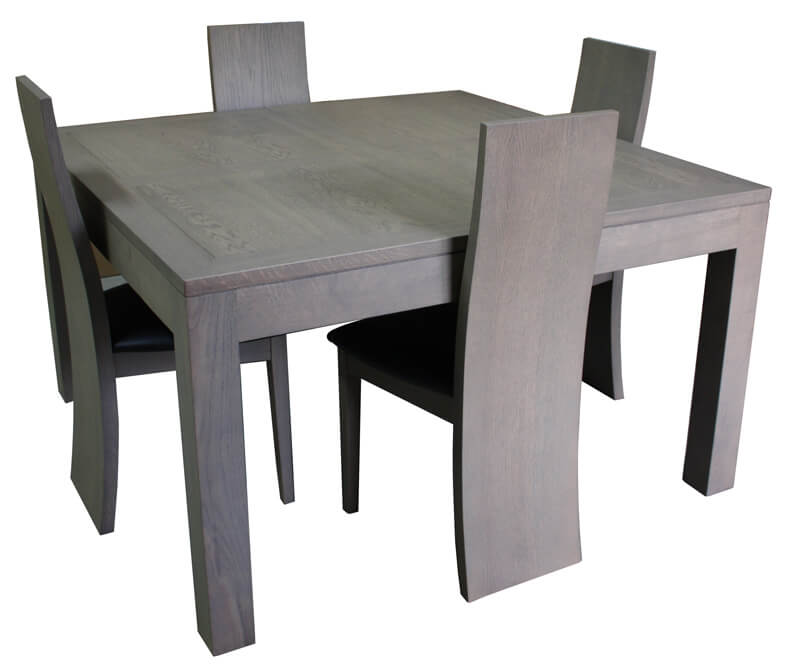 Table repas carr e 1 allonge ch ne blanchi - Table ronde grise avec rallonge ...