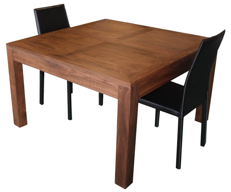 Table repas carr e 1 allonge noyer naturel corian blanc - Table carree extensible bois ...