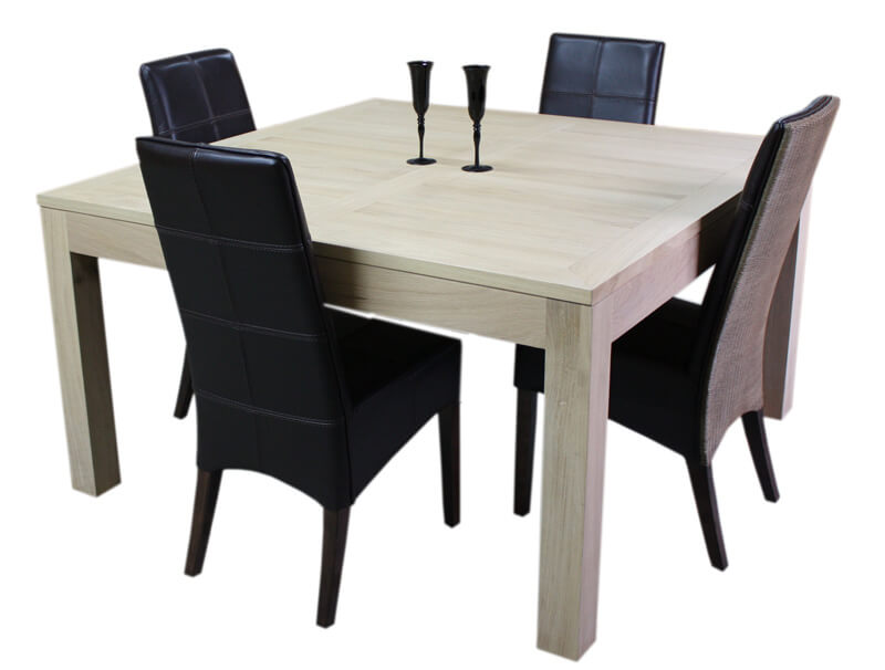 Table repas carr e 1 allonge noyer naturel corian blanc for Table en bois extensible