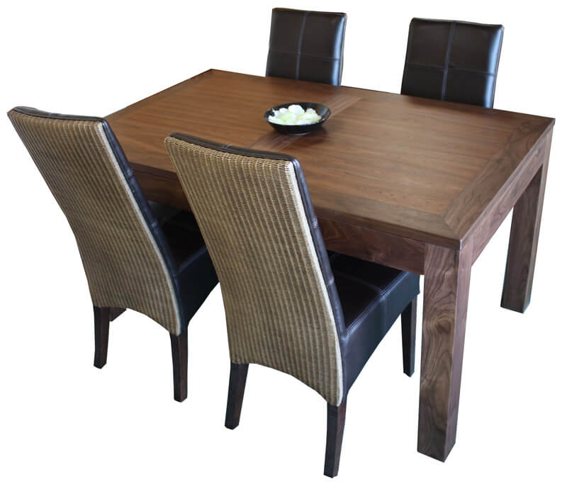 table repas rectangulaire 2 allonges noyer naturel bois 100 massif. Black Bedroom Furniture Sets. Home Design Ideas
