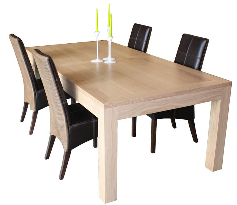 Table repas rectangulaire 2 allonges ch ne blanchi bois for Table de chevet malm chene blanchi