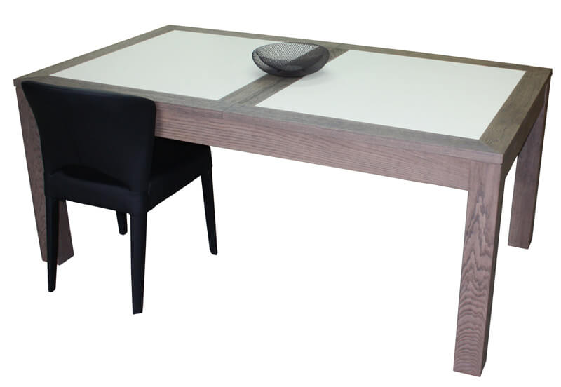table repas rectangulaire 2 allonges ch ne flott corian blanc. Black Bedroom Furniture Sets. Home Design Ideas