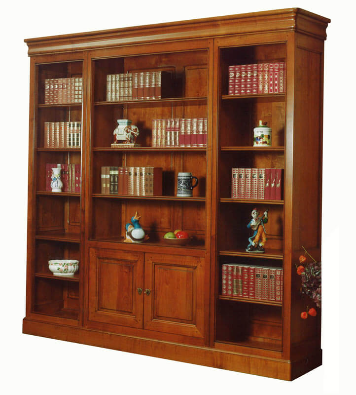 biblioth que ouverte l ments bas 2 portes pleines louis philippe merisier d corateur. Black Bedroom Furniture Sets. Home Design Ideas