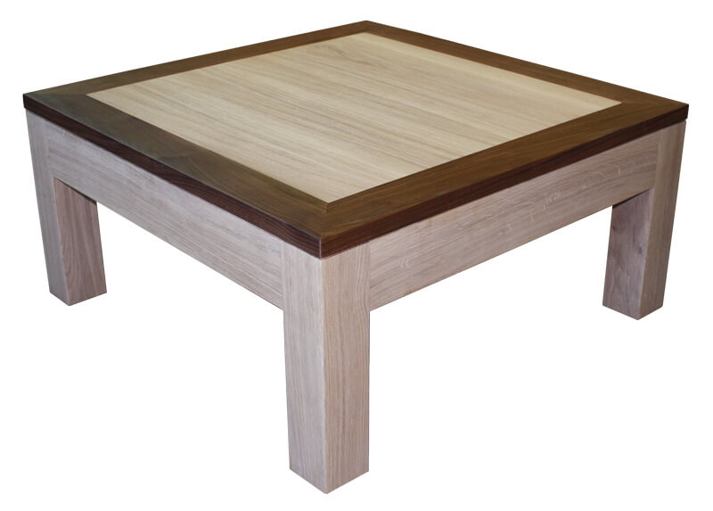 Table basse 2 tiroirs double plateau ch ne blanchi for Table basse chene blanchi
