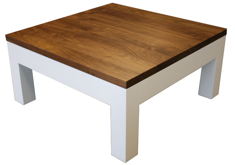 Table basse 2 tiroirs noyer naturel corian blanc - Bout de canape blanc laque ...