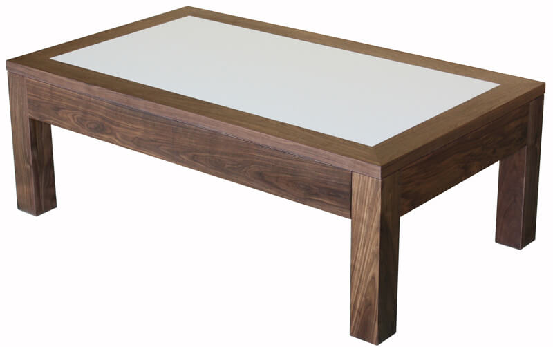 12562 Table basse 2 tiroirs Noyer naturel & Corian Blanc