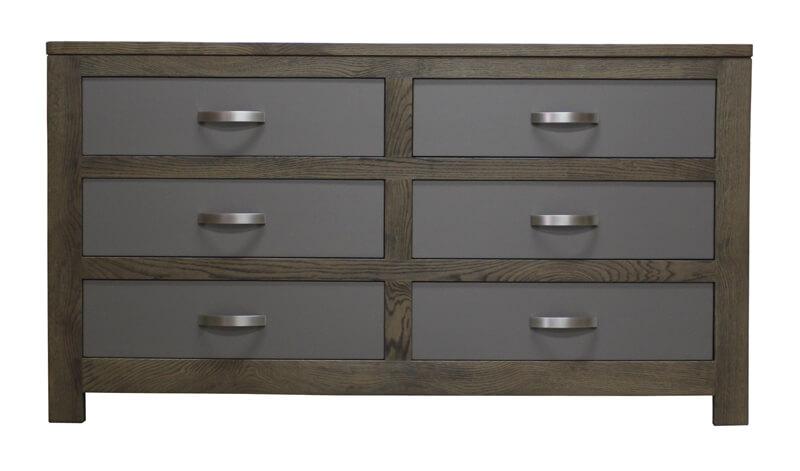 commode 6 tiroirs ch ne flott tiroirs laqu gris charleston bois 100 massif. Black Bedroom Furniture Sets. Home Design Ideas