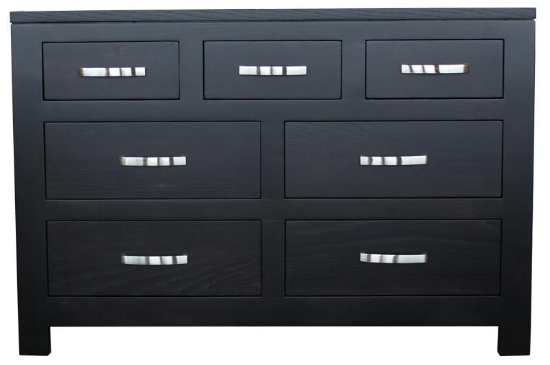 commode 7 tiroirs ch ne weng noir bois 100 massif. Black Bedroom Furniture Sets. Home Design Ideas