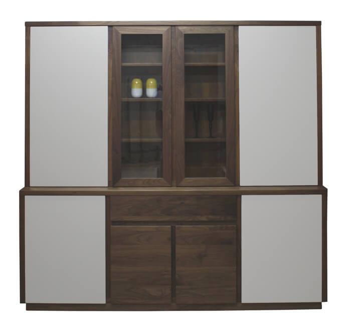 buffet 2 corps vaisselier bas 4 portes 1 tiroir haut 4 portes noyer naturel laqu. Black Bedroom Furniture Sets. Home Design Ideas