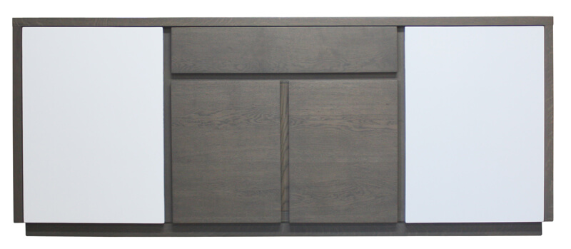 Buffet 4 portes 1 tiroir ch ne gris bois 100 massif for Buffet bois et blanc
