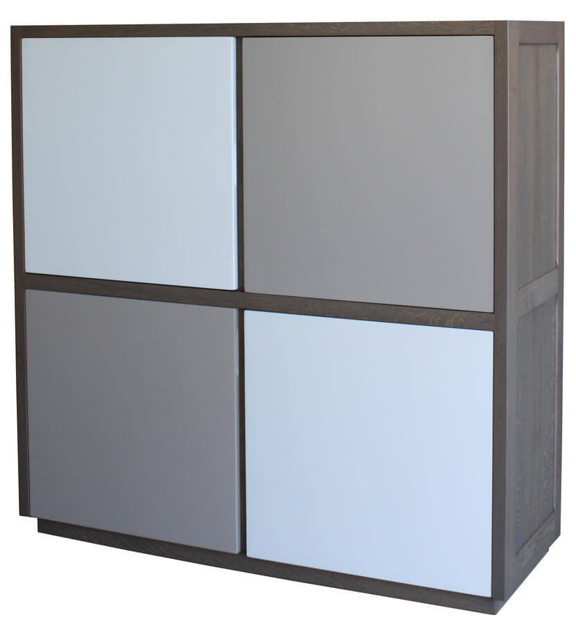 buffet 4 volets ch ne gris laqu blanc et tourterelle. Black Bedroom Furniture Sets. Home Design Ideas