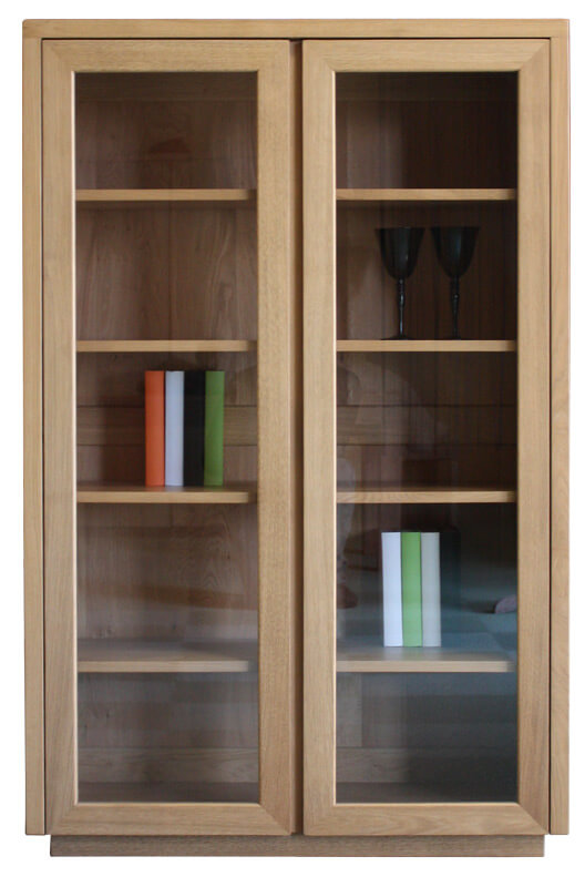 vitrine biblioth que 2 portes vitr es ch ne naturel bois 100 massif. Black Bedroom Furniture Sets. Home Design Ideas
