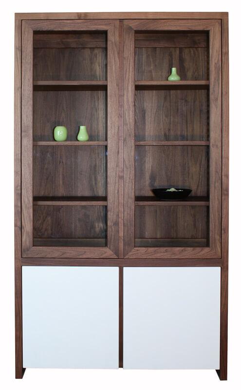 biblioth que vitrine noyer naturel laqu blanc. Black Bedroom Furniture Sets. Home Design Ideas