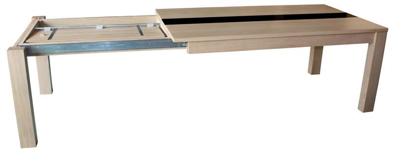 table repas rectangulaire 1 allonge en bout ch ne blanchi chemin verre laqu noir. Black Bedroom Furniture Sets. Home Design Ideas