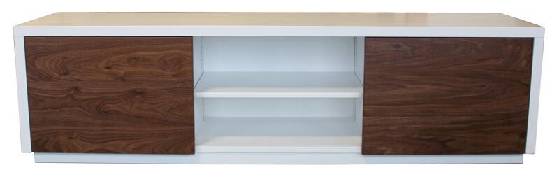 buffet tv 2 portes coulissantes laqu blanc noyer naturel. Black Bedroom Furniture Sets. Home Design Ideas
