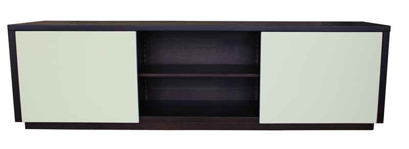 buffet tv 2 portes coulissantes ch ne weng laqu vanille. Black Bedroom Furniture Sets. Home Design Ideas