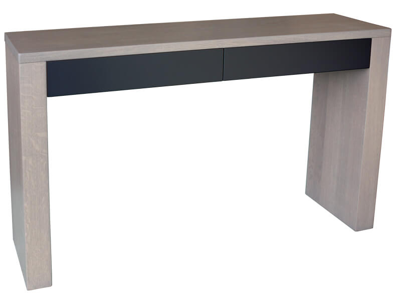 console 2 tiroirs ch ne gris bois 100 massif laqu taupe tourterelle. Black Bedroom Furniture Sets. Home Design Ideas