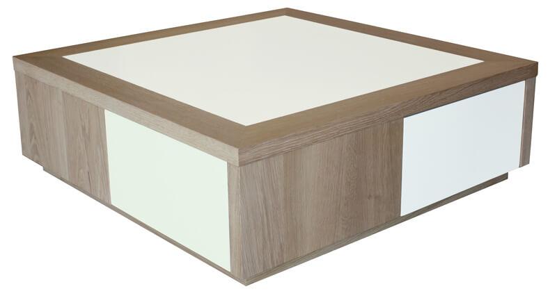 Table Basse 2 Tiroirs Merisier Teint 233 Amp Verre Laqu 233 Noir