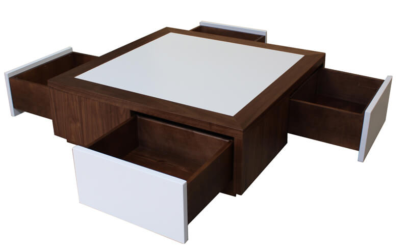 table basse 4 tiroirs en toile ch ne weng noir corian laqu blanc. Black Bedroom Furniture Sets. Home Design Ideas