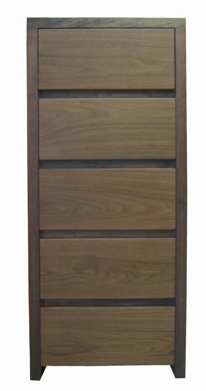 chiffonnier 5 tiroirs noyer naturel. Black Bedroom Furniture Sets. Home Design Ideas
