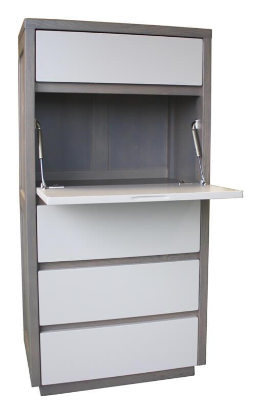 secr taire multim dia 4 tiroirs 1 abattant critoire ch ne gris laqu tourterelle. Black Bedroom Furniture Sets. Home Design Ideas