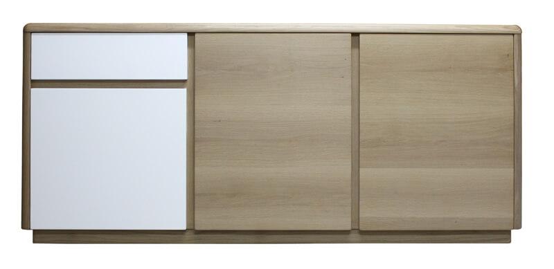 Buffet 3 portes 2 tiroirs retro arrondi ch ne blanchi for Meuble 2 tiroirs 90 cm woodstock laque blanc