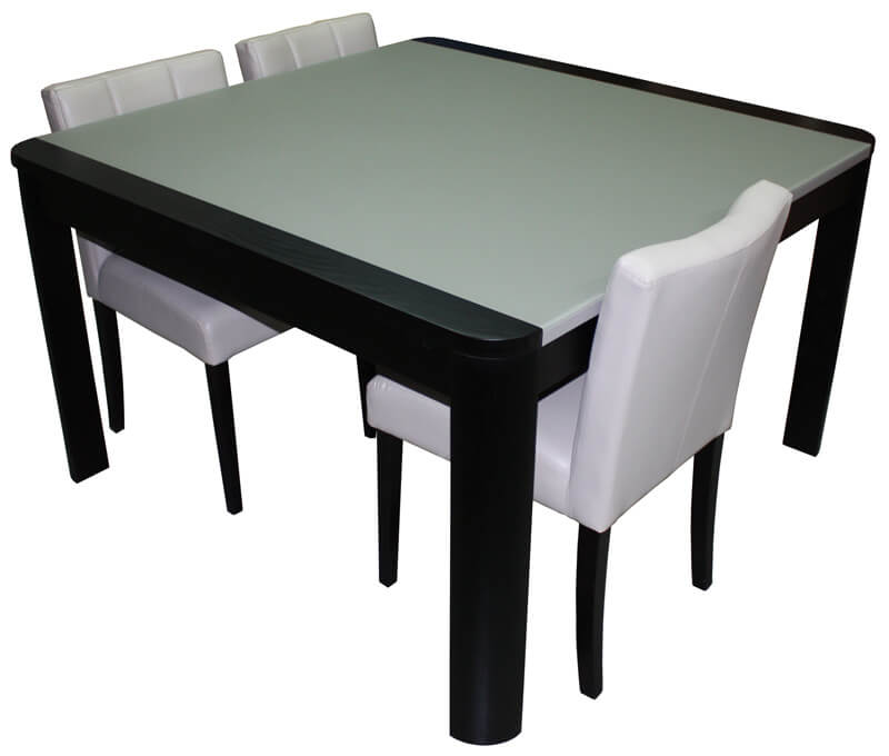 Table de repas carr e avec angles arrondis 1 allonge en for Table en verre avec rallonge