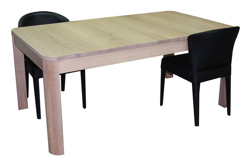 table de repas rectangulaire avec angles arrondis 2 allonges ch ne blanchi bois massif. Black Bedroom Furniture Sets. Home Design Ideas