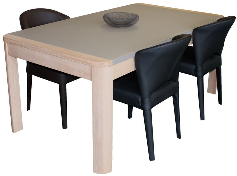 Table de repas carr e avec angles arrondis 1 allonge en for Table de chevet malm chene blanchi