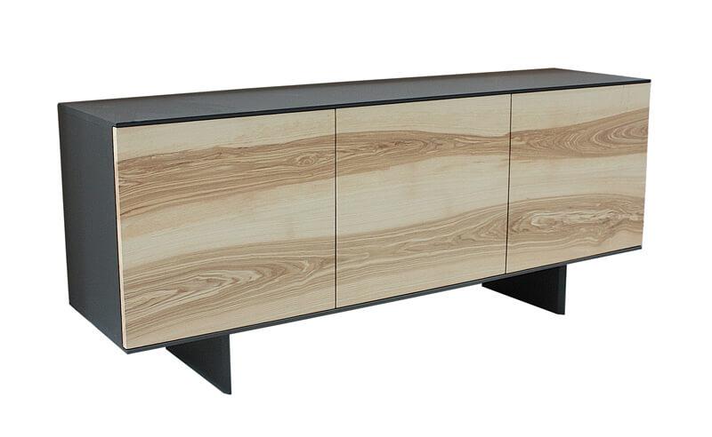 buffet 3 portes fr ne olivier et laqu gris acier. Black Bedroom Furniture Sets. Home Design Ideas