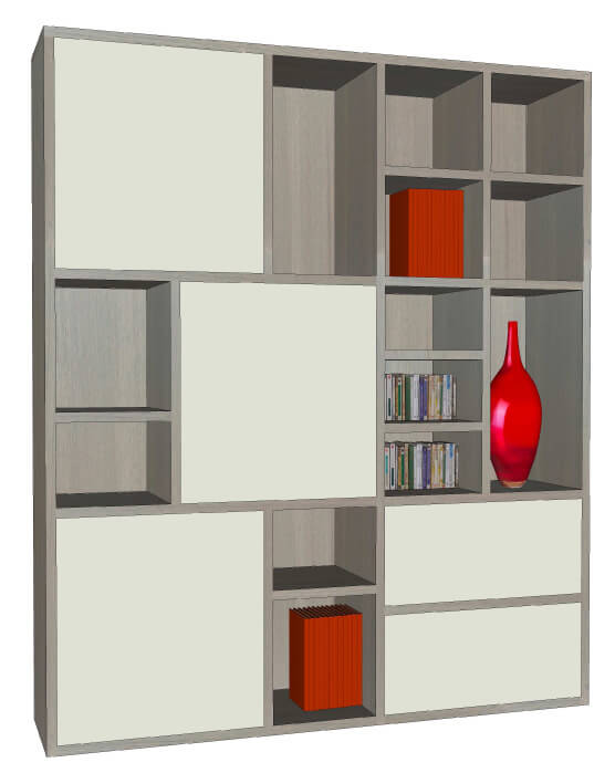 composition murale tv biblioth que bas 5 tiroirs milieu 3 relevants ch ne naturel laqu. Black Bedroom Furniture Sets. Home Design Ideas