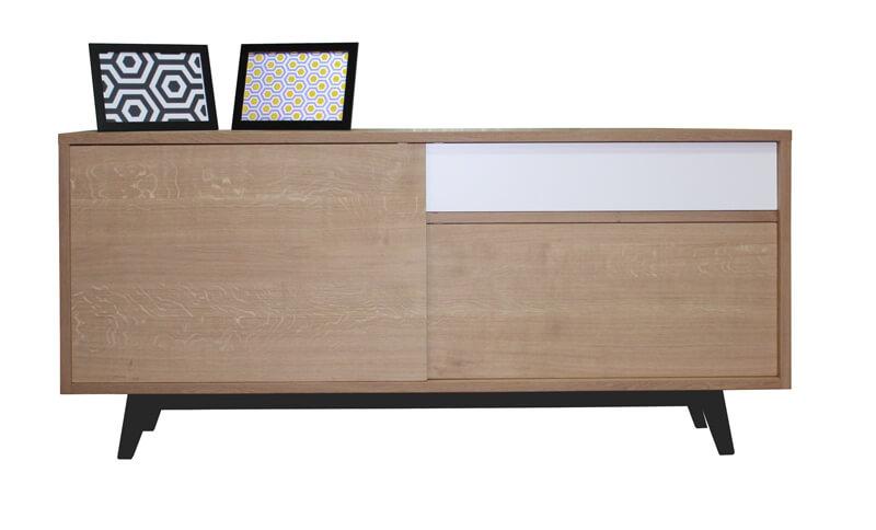 buffet 3 portes coulissantes ch ne blanchi et laqu blanc noir balustrade. Black Bedroom Furniture Sets. Home Design Ideas