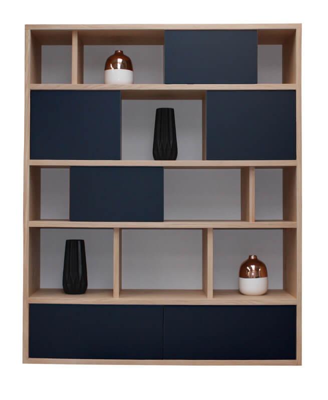 Composition murale biblioth que bas 2 tiroirs milieu 4 portes coulissantes - Bibliotheque noir laque ...