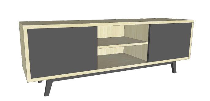 buffet tv 2 portes coulissantes milieu 1 niche ch ne blanchi et laqu chataigne. Black Bedroom Furniture Sets. Home Design Ideas