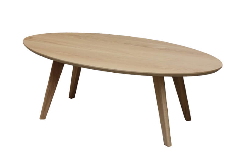 Table basse basse ovale ch ne blanchi bois massif for Table basse chene blanchi