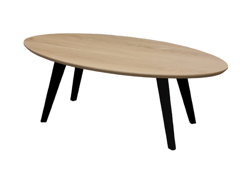 Table Basse Ovale Noir Laque