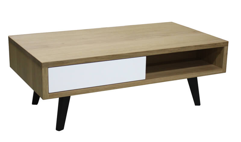Table basse 2 tiroirs 2 niches ch ne blanchi et laqu - Table basse noir et blanc laque ...