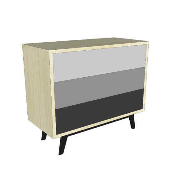 commode 3 tiroirs ch ne blanchi et laqu 3 nuances de gris. Black Bedroom Furniture Sets. Home Design Ideas