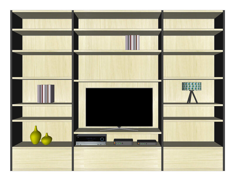 composition murale biblioth que tv bas 3 tiroirs ch ne. Black Bedroom Furniture Sets. Home Design Ideas