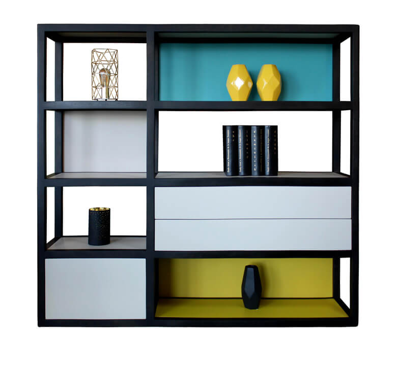 biblioth que 3 tiroirs ch ne weng noir et laqu jaune citron bleu canard et tourterelle. Black Bedroom Furniture Sets. Home Design Ideas