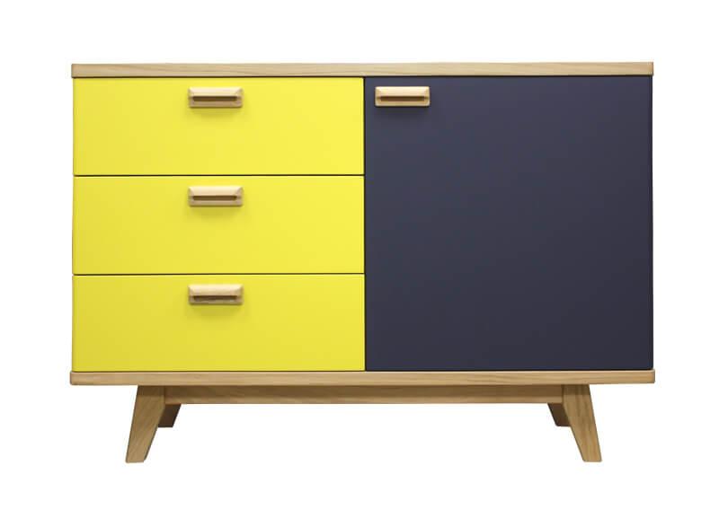 buffet 1 porte 3 tiroirs ch ne blanchi et laqu jaune citron gris ardoise. Black Bedroom Furniture Sets. Home Design Ideas
