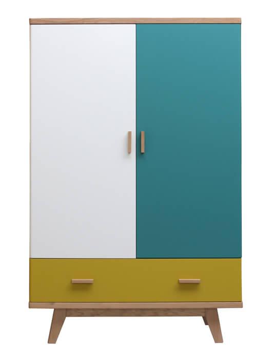 Armoirette 2 portes 1 tiroir ch ne blanchi et laqu bleu canard jaune citron et blanc - Armoire enfant bois massif ...