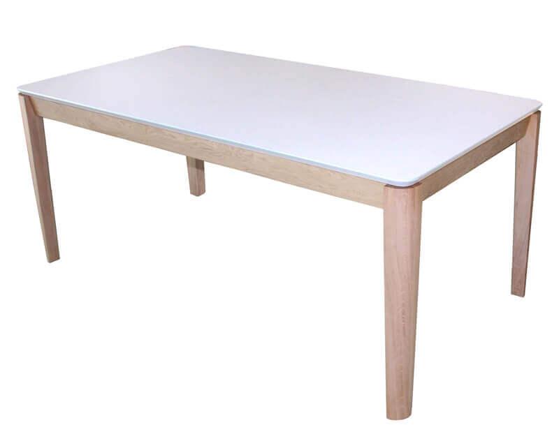 table de repas rectangulaire 1 allonge dessus fenix blanc et pieds ch ne blanchi. Black Bedroom Furniture Sets. Home Design Ideas