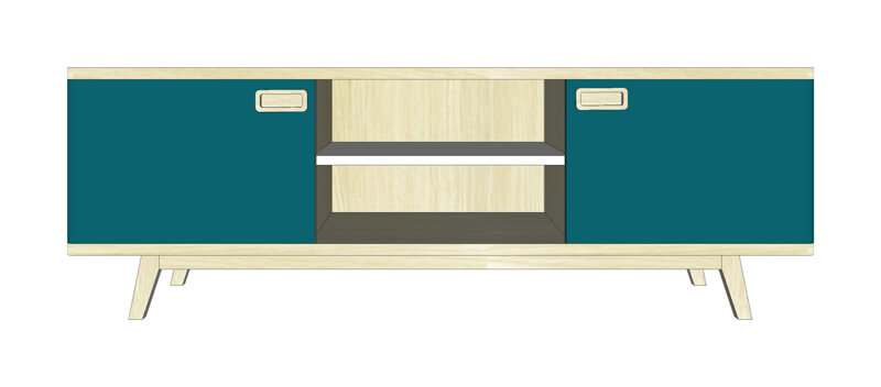 buffet tv 2 portes 1 niche ch ne blanchi et laqu bleu canard blanc. Black Bedroom Furniture Sets. Home Design Ideas